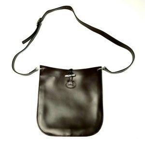 Longchamp Brown Leather Toggle Crossbody Purse Bag